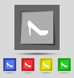 Woman shoes icon sign on original five colored vector