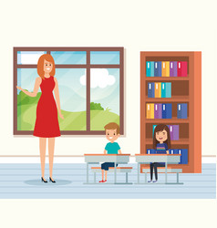 Woman teacher in classroom with kids and books vector