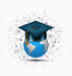 world hat graduate vector image