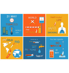 world no tobacco day posters set globe lungs smoke vector image