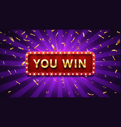 you win banner winner congratulations frame vector image