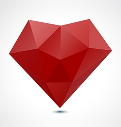 Abstract red polygonal geometric heart vector image vector image