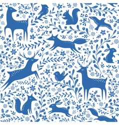 Blue christmas forest pattern vector