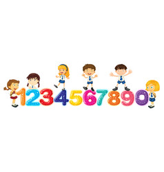 children counting numbers one to zero vector image vector image