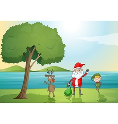 santa claus a boy and a reindeer vector image vector image