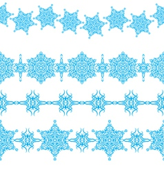 set of seamless Christmas borders vector image