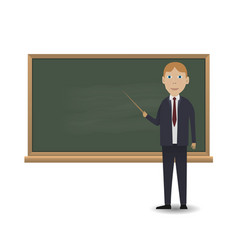 young teacher standing in front of blackboard vector image vector image
