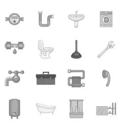 Bathroom icons set black monochrome style vector image