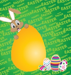 Easter bunny with Big egg on a green background vector image