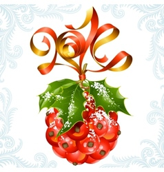 ribbon in the shape of 2014 and holly ball vector image vector image