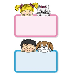 Setting children with their pets vector