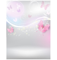 Abstract background with florals and butterflies vector image