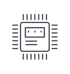 cpu line icon sign on vector image
