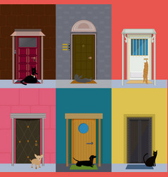 flat colorful building exterior set vector image vector image