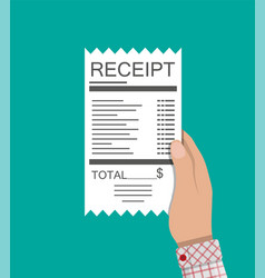 Hand holds receipt paper invoice total bill vector