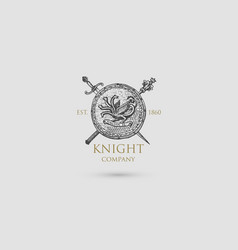 shield with sword knife and mace logo medieval vector image vector image