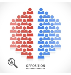 Two opposite teams with different opinions vector