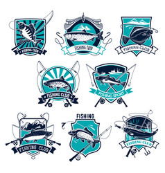 fishing sport badge set design with fish and rod vector image