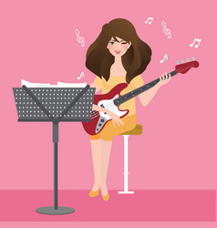 girl playing guitar composing musical chord with vector image vector image