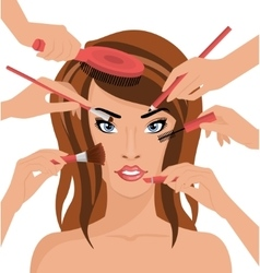 Many Hands With Cosmetics Brush Doing Makeup of vector image