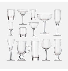 Set of cocktail stemware and glasses for alcohol vector image