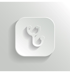 Stethoscope icon - white app button vector image