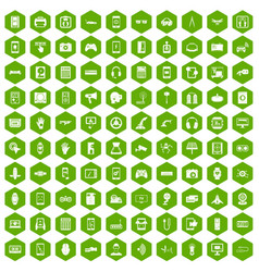 100 adjustment icons hexagon green vector