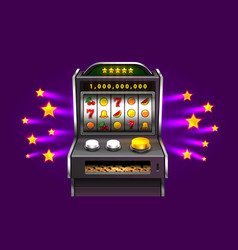 3d slots machine wins the jackpot vector