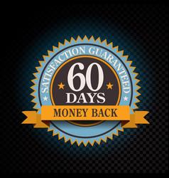 60 days satisfaction guaranteed golden vector image