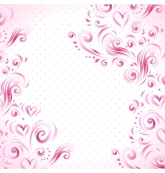 abstract floral background with hearts in pink vector image