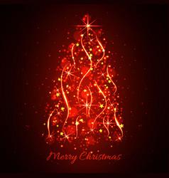 Abstract glowing light christmas tree christmas vector