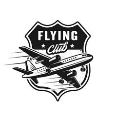 Airplane vintage emblem for flying club vector