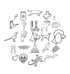 animal icons set outline style vector image