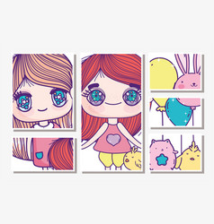 Anime cute girls with rabbit balloons chicken cat vector