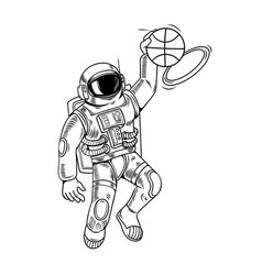 Astronaut spaceman which play basketball vector
