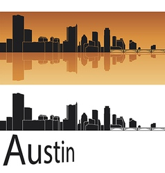 Austin skyline in orange background vector