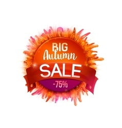 Autumn Sales Banner whith grass and tape vector image