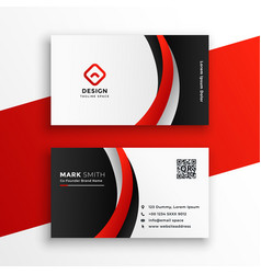awesome red business card design template vector image