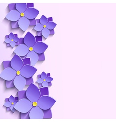 Background with summer 3d flowers violets vector