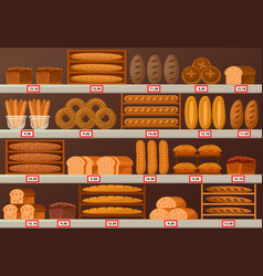 Bakery stall or showcase with loaf of bread vector