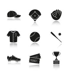 baseball accessories drop shadow black icons set vector image