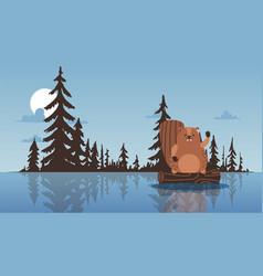 beaver sit on stump waving paw lake forest pine vector image