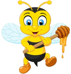 Bee holding honey vector
