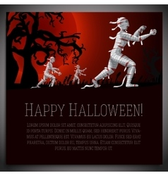 big halloween banner with mummies vector image