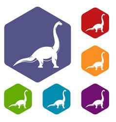 Brachiosaurus dinosaur icons set hexagon vector