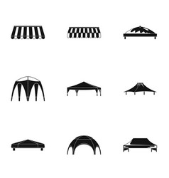 Bridge canopy icons set simple style vector