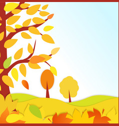 bright autumn background autumn forest with vector image