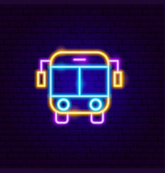 bus front neon sign vector image