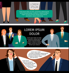 business man and woman speak set banners vector image