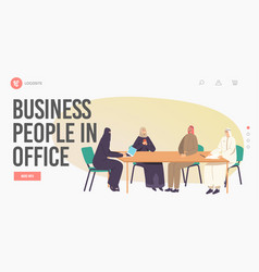Businesspeople in office landing page template vector